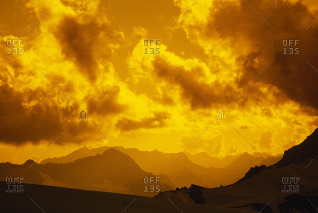 Sunset over mountains above Suru Valley, near Nun Kun Massif.
