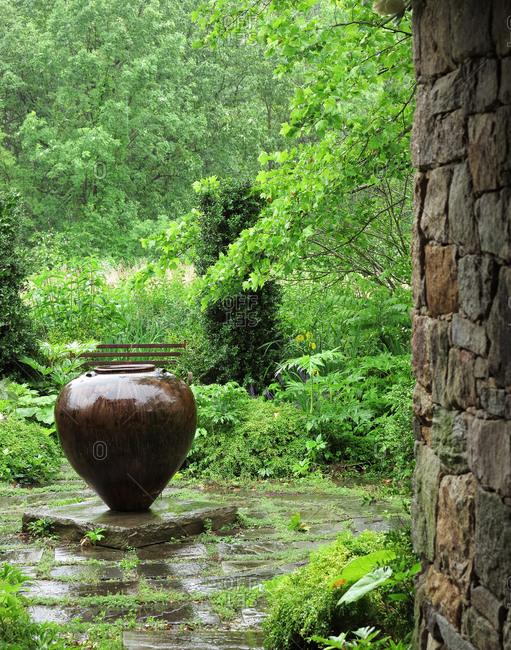 Large stone vase in garden