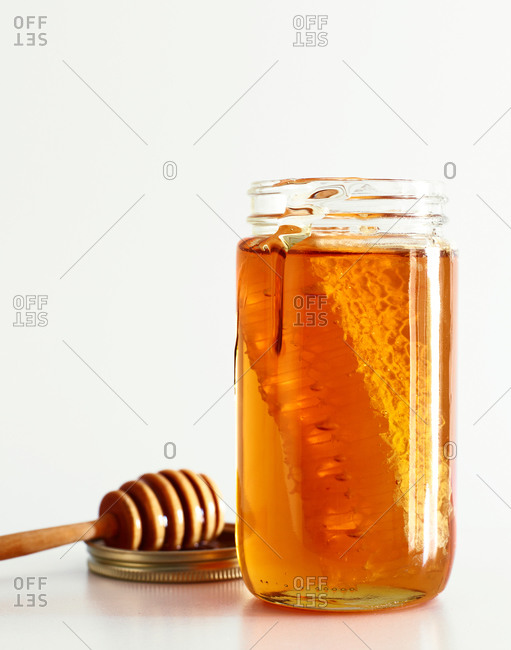 Jar full with delicious honey
