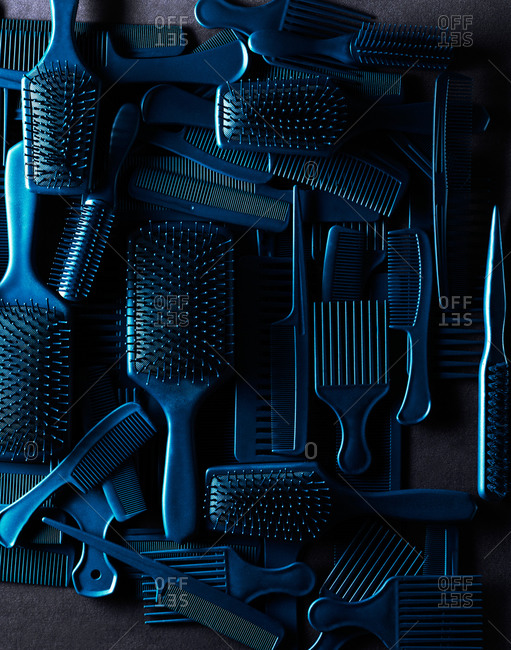 Top view of hairbrush and comb collection