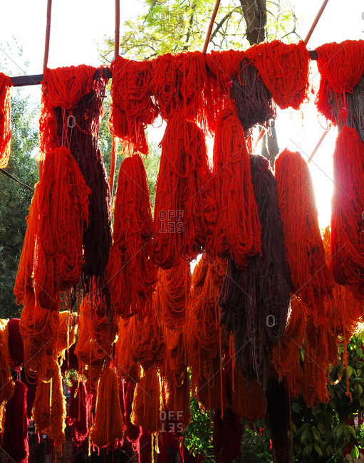 Colorful yarns drying outside