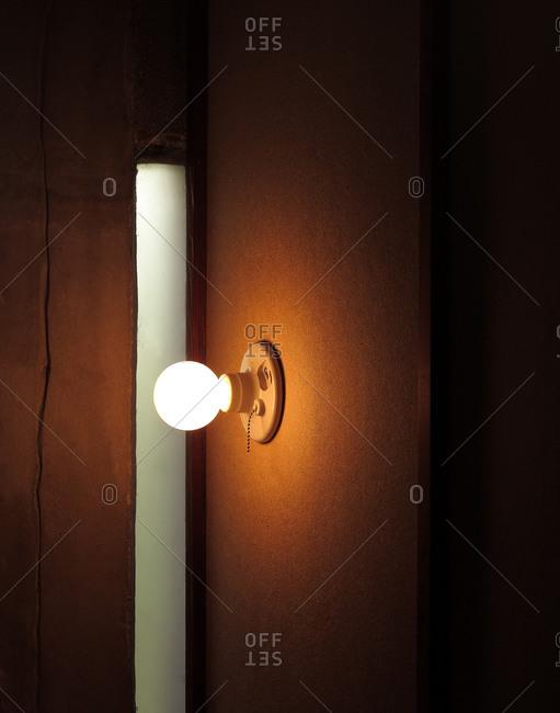 Single light bulb on the wall