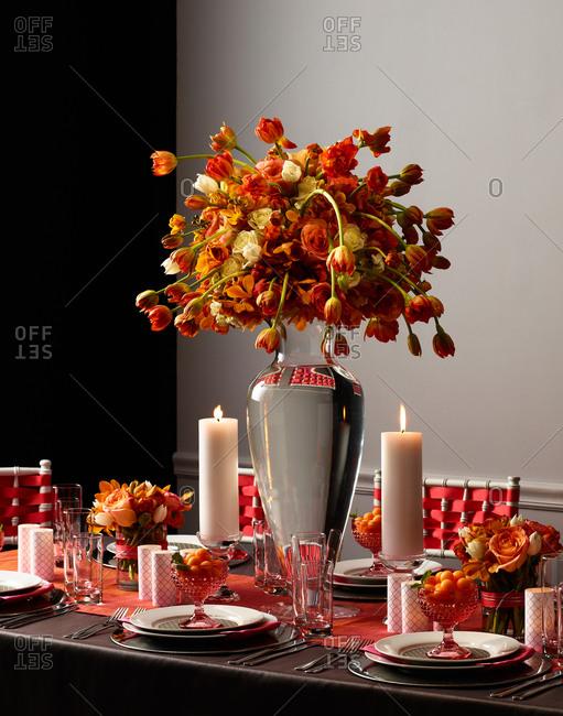 Dinner table set up