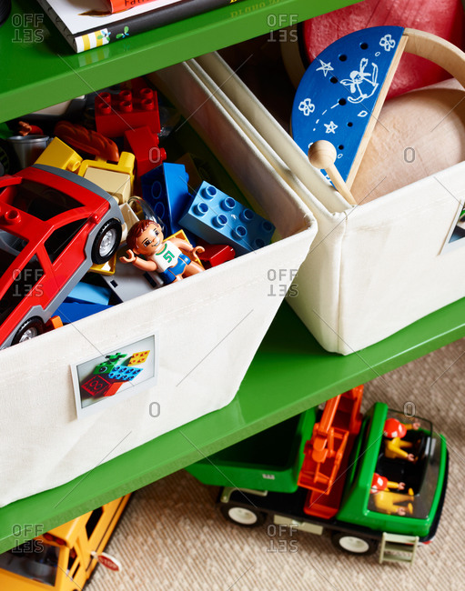 Bins filled with toys