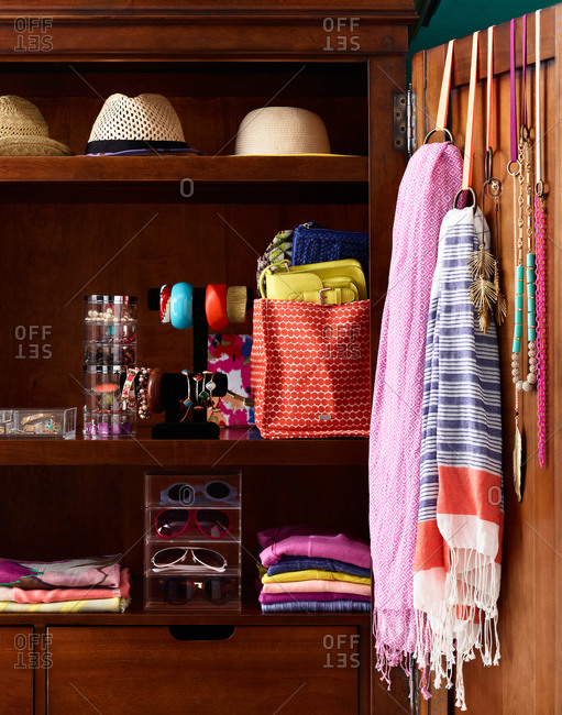 Wardrobe with different kinds of accessories