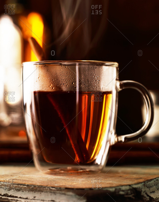 Cup of steaming hot tea