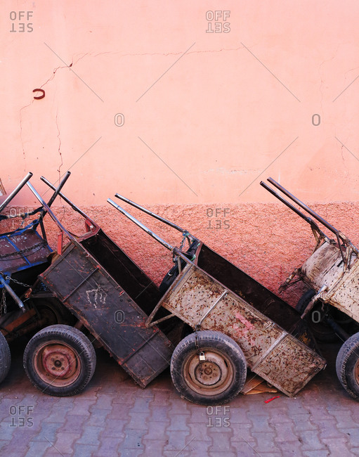 Rusty carts in a row