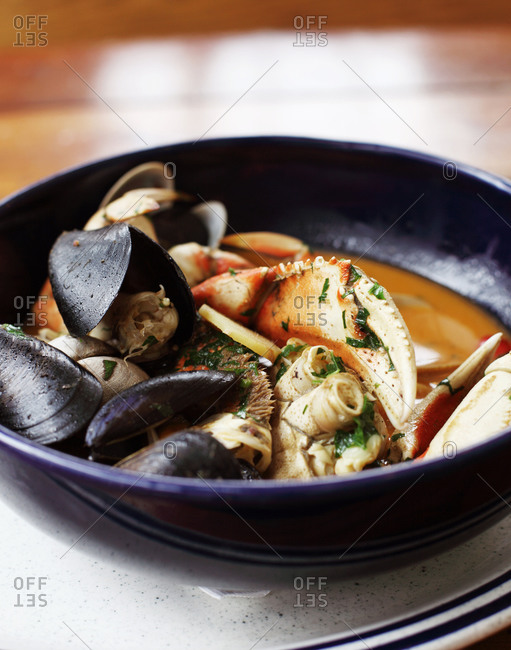 Seafood medley in a bowl