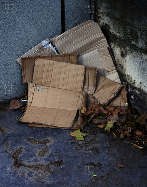 Cardboard folded and lying on the ground