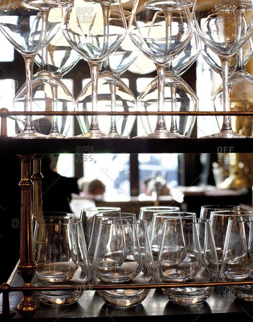 Stacks of glasses at a restaurant