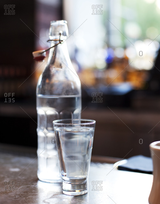 A bottle and glass of water