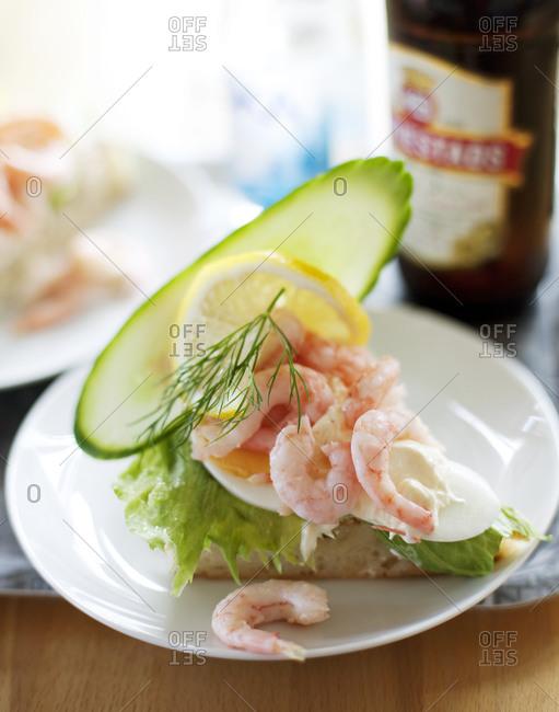 Shrimp and egg on toast