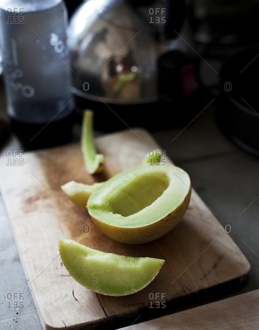 Sliced honeydew melon