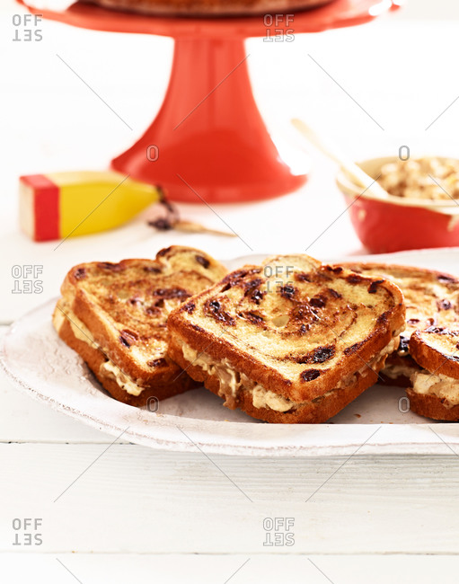 Cinnamon raisin bread sandwiches