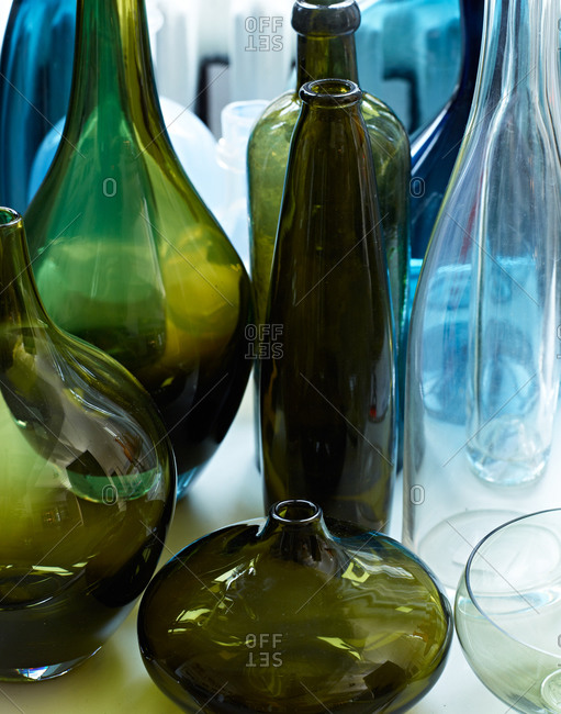 A group of glass vases