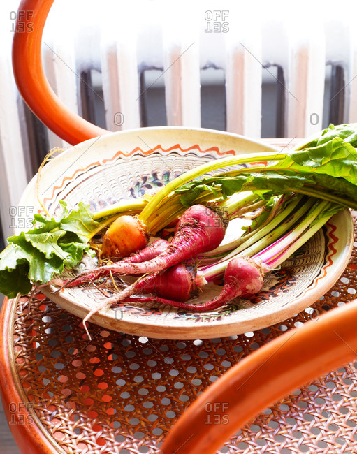 Vegetables on a plate set on a chair