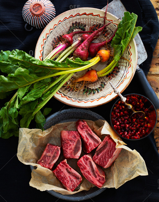 Ingredients for making short ribs