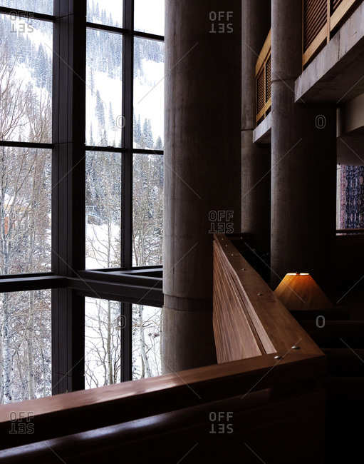 View out of a window from inside a lodge
