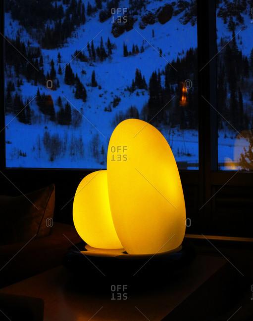 A modern lamp in a lodge