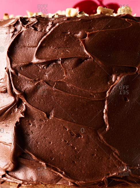 Close up of chocolate icing