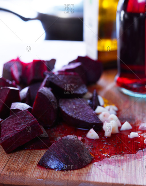 Sliced beets on a cutting board