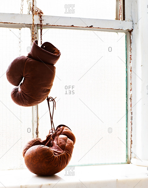 Leather boxing gloves hanging in a window