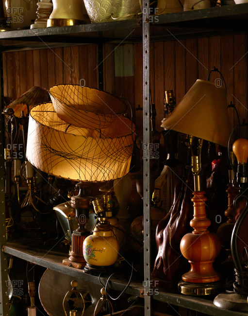 Rows of lamps in an antique store