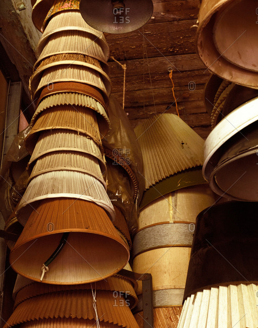 Stacks of lamp shades in an antique store