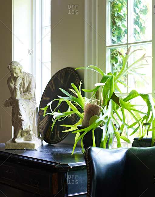A statue and plant in a home