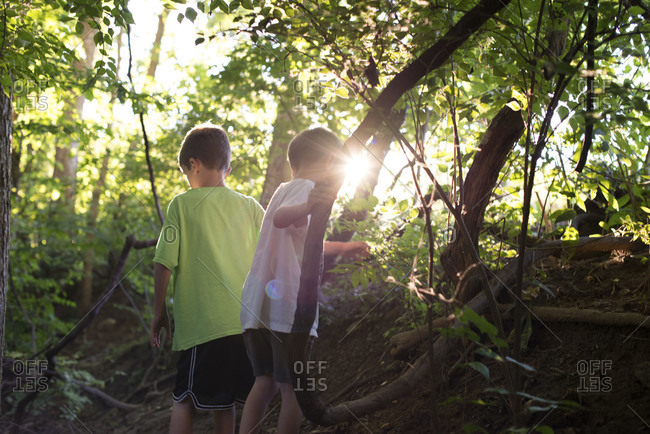 Two young boys playing in the woods
