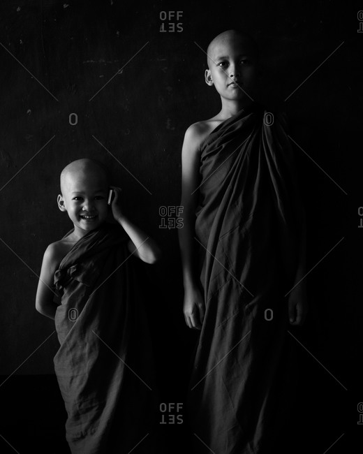 Portrait of two novice monks