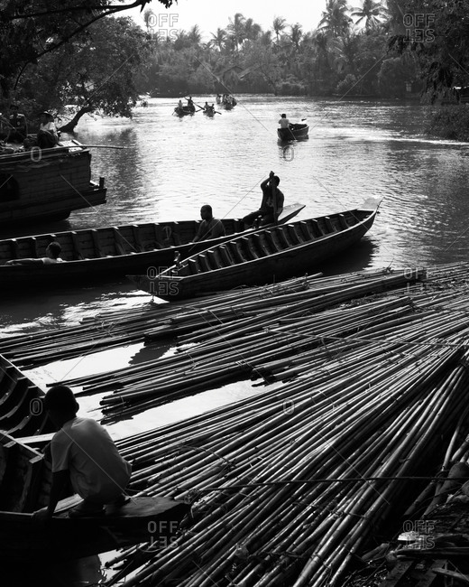 Transportation bamboo on the river
