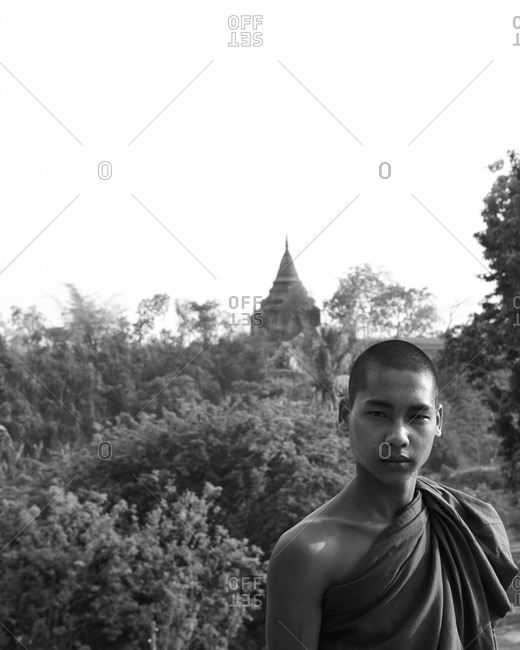 Portrait of Burmese novice monk
