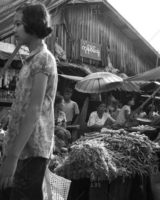 Women selling vegetables at market