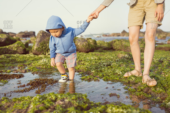 Mother and little boy walking on seashore hand in hand