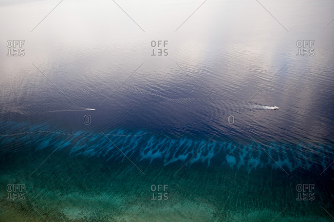 Aerial photo of power boats in the Caribbean Sea, Grand Cayman, Cayman Islands