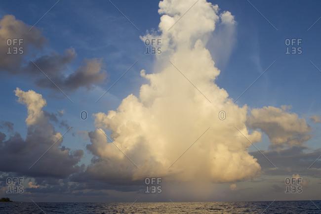 Early morning rainstorm at sea