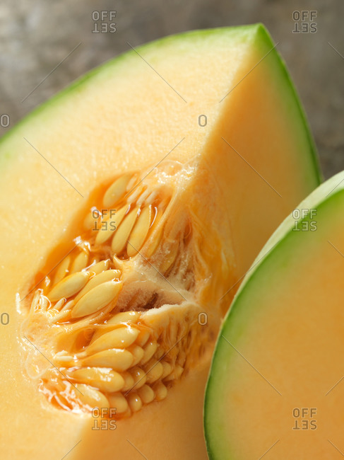 Close-up of wedge of melon