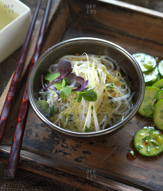Bowl of kelp noodles with vegetables