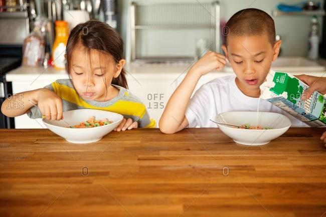 Siblings eating cereal for breakfast
