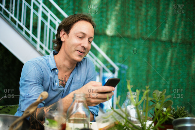 Man checking his mobile phone