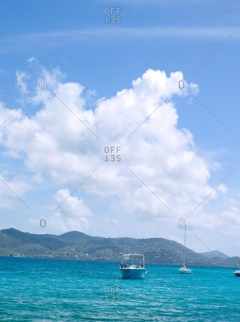 Boat in sea landscape in summer