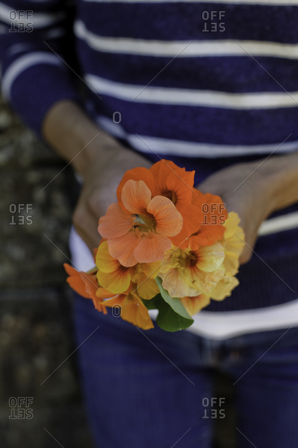 Close-up of a flower bouquet held by a woman