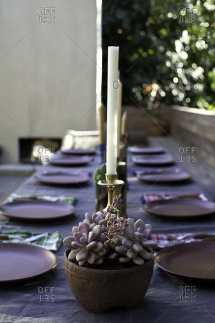 Table set in outdoor restaurant