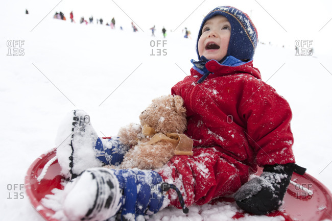 A two year old boy laughs while sledding with his teddy bear on a red saucer sled at the local sledding hill in Fort Collins, Colorado