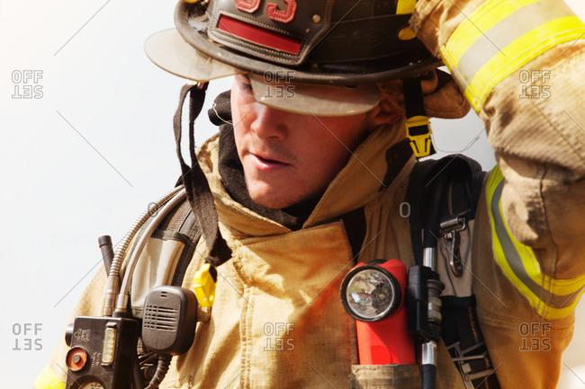 Portrait of geared up fireman