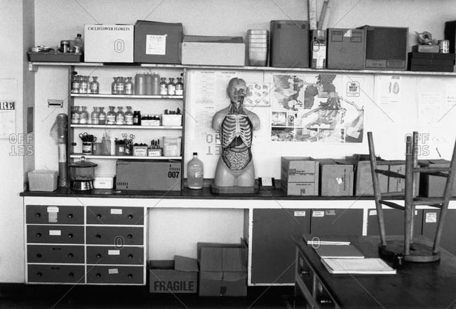 An empty science classroom