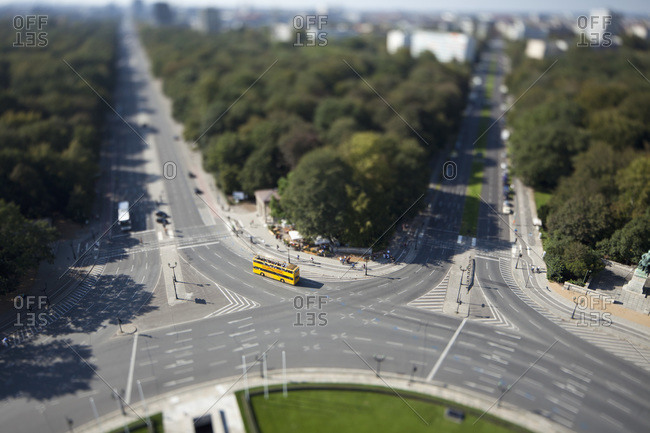 Berlin cityscape of the Tiergarten, Germany, tilt-shift