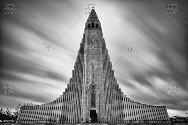 Hallgrímskirkja Church on an overcast day