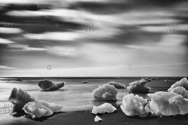 A chunk of ice on a beach
